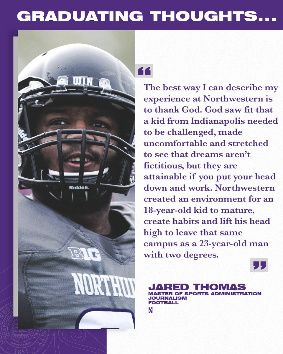 Well said, @JaredThomas_33. Proud of all your accomplishments at @NorthwesternU and we can't wait to follow your journey.   #NU2020   #GoCats https://t.co/8CaKfMMYzt