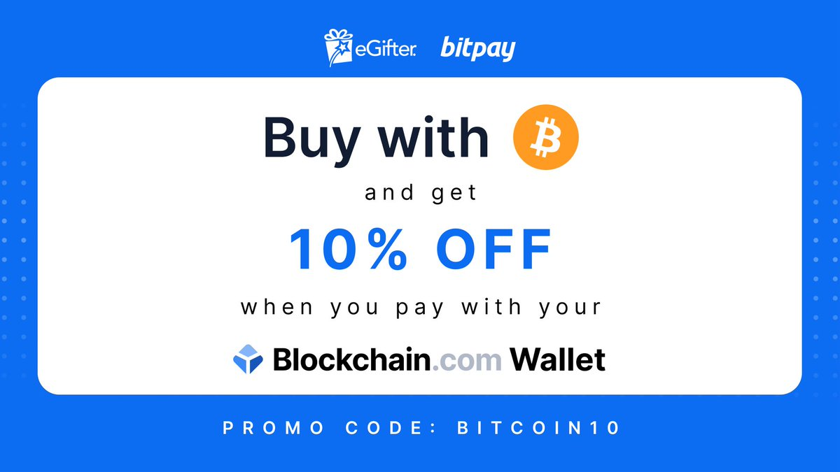 Use your https://t.co/0DZyULavbV Wallet to purchase gift cards for all your favorite products with #bitcoin on eGifter + receive 10% off. 🙌   Check it out now: https://t.co/EvXhi3VSrS https://t.co/157nETwgiR