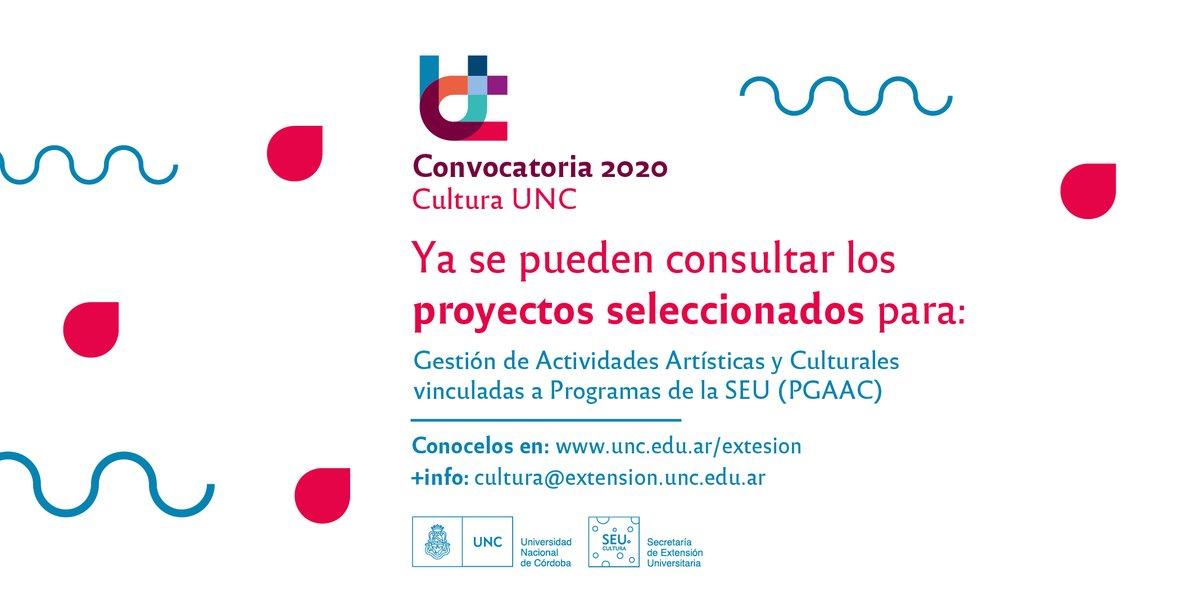 PGAAC 2020  La Subsecretaría de Cultura lleva adelante esta línea articulada junto con Programas de la Secretaría de #ExtensiónUNC.  Podés consultar los proyectos seleccionados del Programa de Gestión de Actividades Artísticas y Culturales aquí https://bit.ly/2N5BNaxpic.twitter.com/vRb9lt00Hv