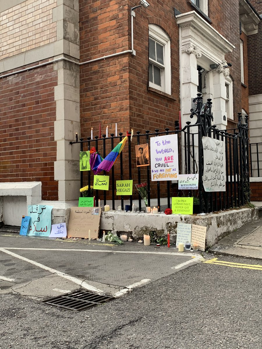Candlelight vigil for #SarahHegazy in front of the Egyptian embassy in London. #سارة_حجازي