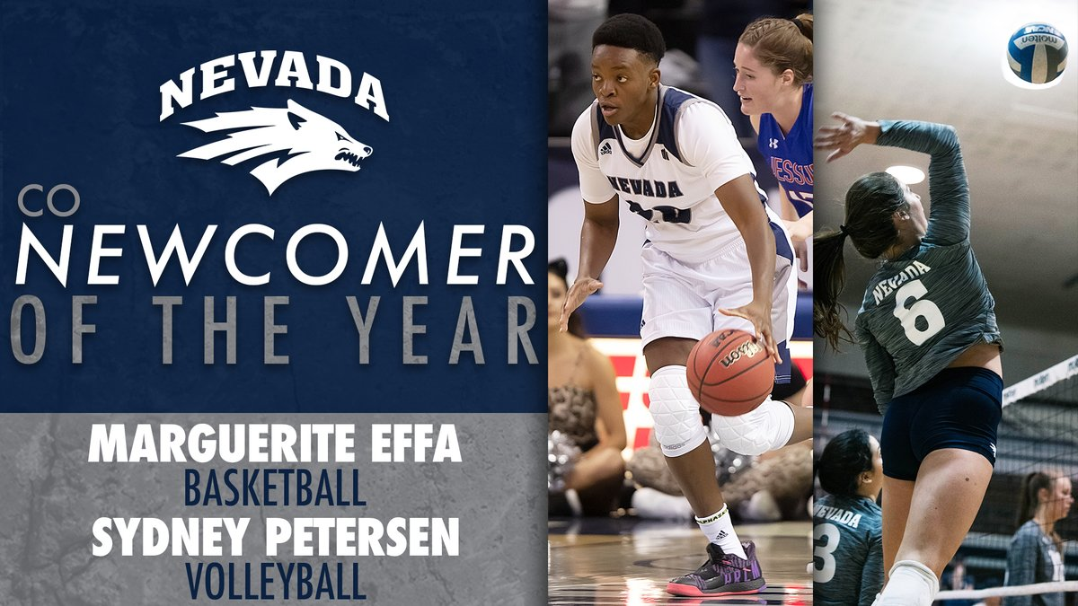 We had so much new talent this past season, we couldn't just choose one.   Effa representing @NevadaWBB and Petersen with @PackVB both take home Female Newcomer of the Year honors!   #BattleBorn https://t.co/F7c8DhMb4f