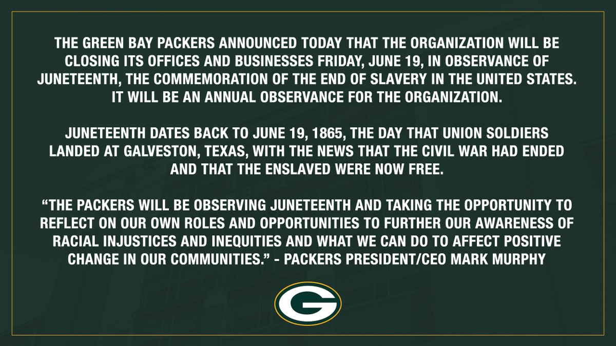 #Packers to close offices & businesses Friday in observance of Juneteenth: pckrs.com/juneteenth