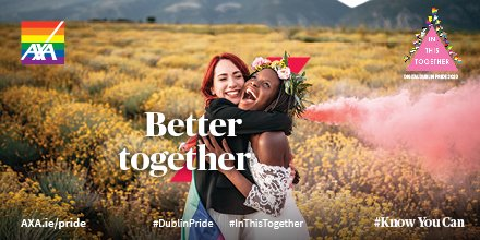 Pride is a celebration of diversity & inclusion, LGBTQ+ people and families. The theme for this years' @DublinPride  first virtual parade is 'In this Together', everybody can play their part from the comfort of their homes. #Knowyoucan #Inthistogether #DublinPride https://t.co/RRKgXCjLJZ