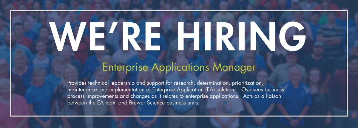 test Twitter Media - Brewer Science is looking for an Enterprise Applications Manager (U.S.) to join our team  Apply here: (https://t.co/09s3coVkK8) https://t.co/OZ5XSKHffc
