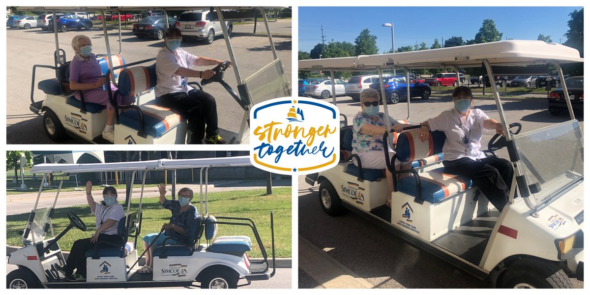 It's a #beautifulday for a drive, at least that's what the residents at #GeorgianVillage in @penetanguishene thought, so out came the golf carts, on went the masks & out they went for a tour of the Village. #strongertogether #georgianvillage #northsimcoe    #covidkindness #ppepic.twitter.com/6veKJBGkcP