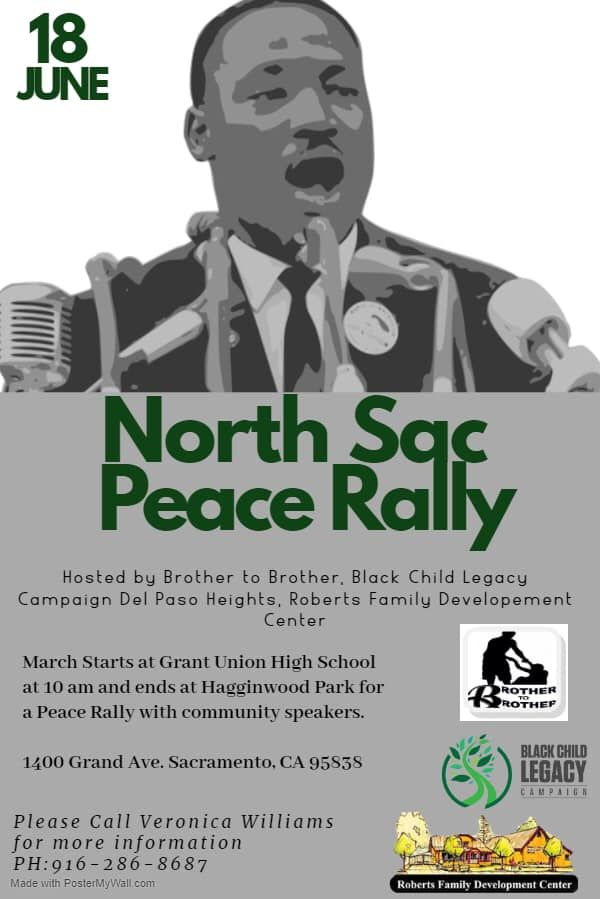 To our North Sacramento/Del Paso Heights Community! Join us tomorrow in Day 4 of our Week of Action!  The North Sacramento and Del Paso Heights community will be hosting a peace rally beginning at Grant High School tomorrow, June 18 at 10am. See the flyer below for more details https://t.co/51Jge36E3V