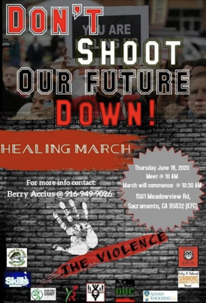 Good Afternoon to our South Sacramento Area Community! Join us tomorrow as our communities take on Day 4 of our Week of Action!  This Healing March will begin tomorrow, June 18 at 10am, at 1501 Meadowview Road.. Sacramento, CA 95832 (KFC). See the flyer below for more details https://t.co/ZppWHvhkMg