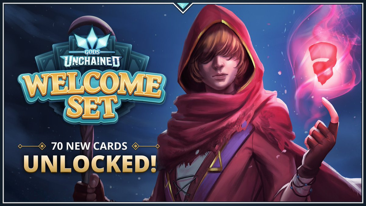 👊 You just unlocked 70 news cards! The Welcome Set is now in your inventory, we're currently LIVE on Twitch for a Q&A and to showcase the new cards with our Lead Game Designer – come join! 🎥 : twitch.tv/godsunchained