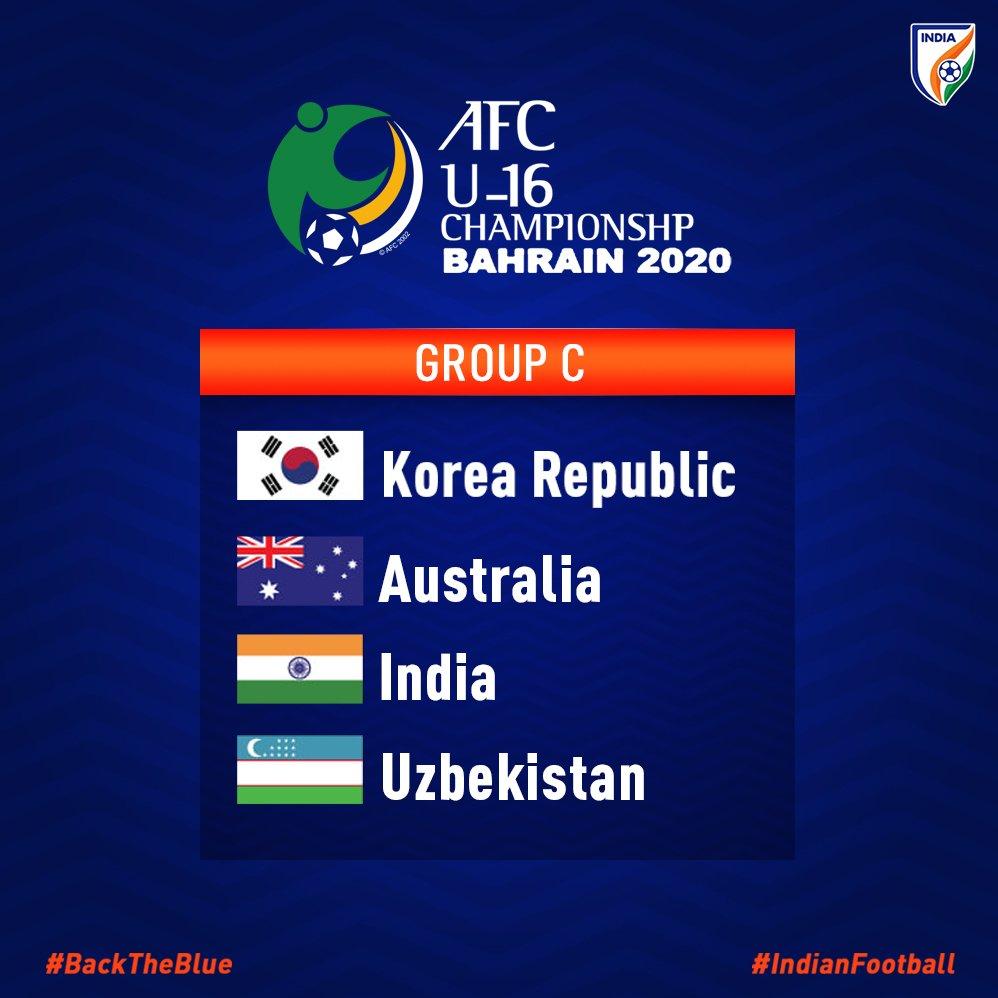 HERE. WE. GO! ✅🔥 India 🇮🇳 have been drawn alongside Korea Republic 🇰🇷, Australia 🇦🇺 and Uzbekistan 🇺🇿 in Group C of the #AFCU16 Championship Bahrain 2020 🙌 #IndianFootball #BackTheBlue #StarsOfTomorrow