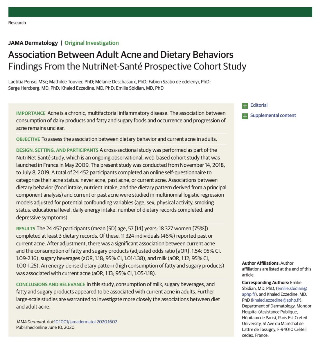 Cristobal Morales On Twitter Https T Co Jo5nqc1dya Association Between Adult Acne And Dietary Behaviors Findings From The Nutrinet Sante Prospective Cohort Study Consumption Of Milk Sugary Beverages And Fatty And Sugary Products Appeared To Be