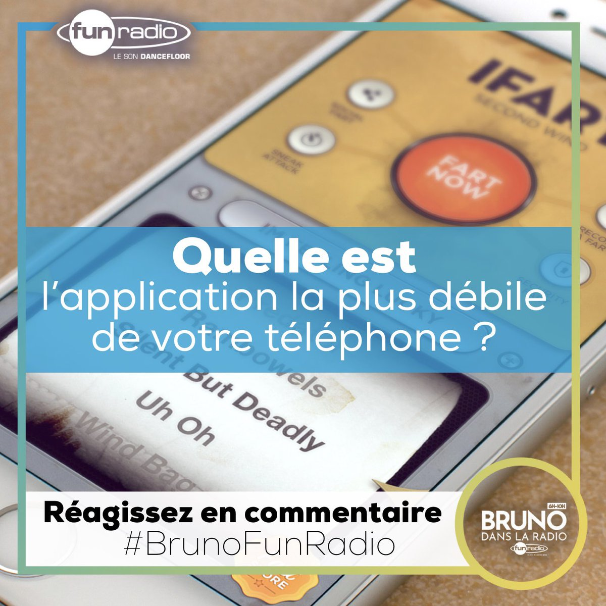 On se partage nos pires applications en commentaire !  #brunofunradio <br>http://pic.twitter.com/rZfsAeib8f