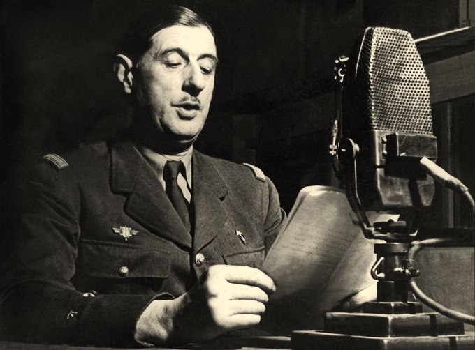 80 years ago today, on 18 June 1940, in the @BBC studios in London, General de Gaulle called on all Frenchmen and Frenchwomen to continue the fight. Today, France remembers.   #Appeldu18juin https://t.co/01lwFY5Vvm