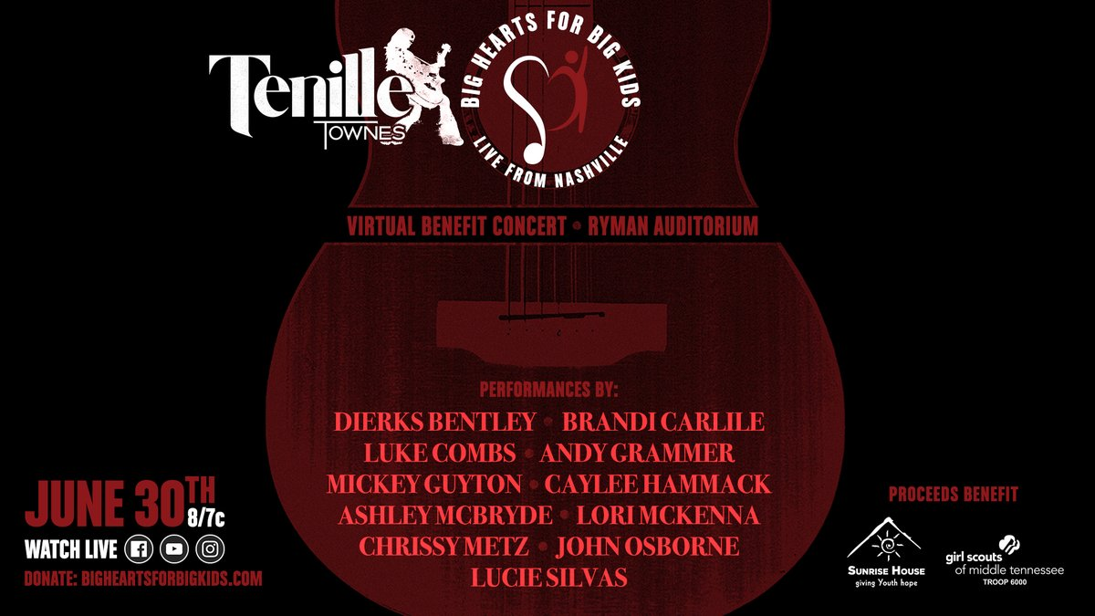 After 10 yrs of Big Hearts for Big Kids fundraisers in my hometown, I could not be more excited to invite you to a virtual concert fundraiser live from Nashville w/ these heroes & friends of mine. Wrapping our arms around kids who need us feels more important than ever right now. https://t.co/cDCPwk9Y8D