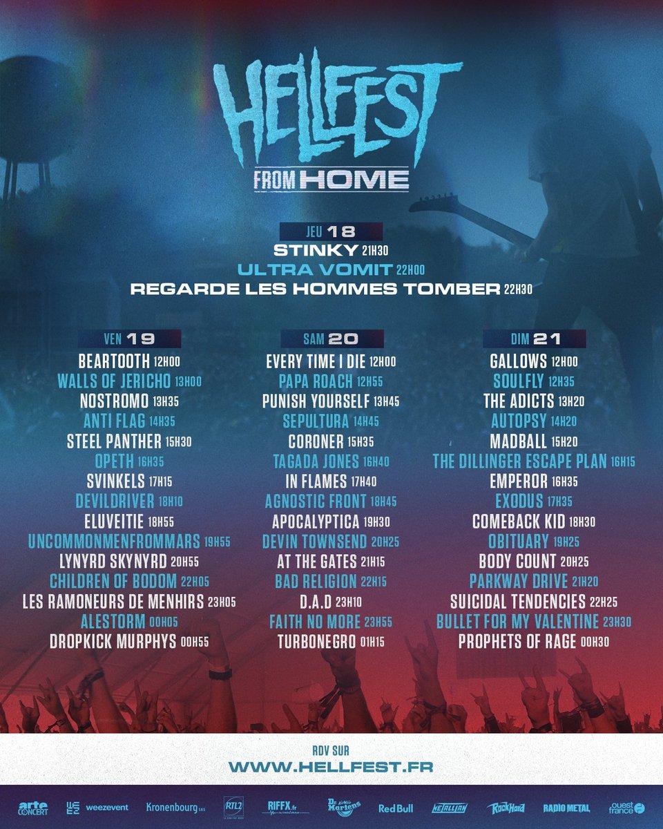 📺 HELLFEST FROM HOME / RUNNING ORDER 📺  https://t.co/y8gM8XzTBq  #hellfestfromhome #hellfest cc @ARTEconcertFR https://t.co/9kvvfLNank