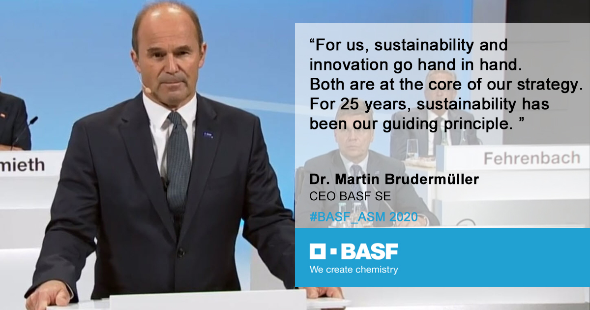 "CEO Martin Brudermüller at #BASF_ASM on how BASF can contribute to a sustainable future. ""For us it is important to combine the three pillars of sustainability: economic success, social responsibility and environmental protection."" https://t.co/v2rWwyz1NX"