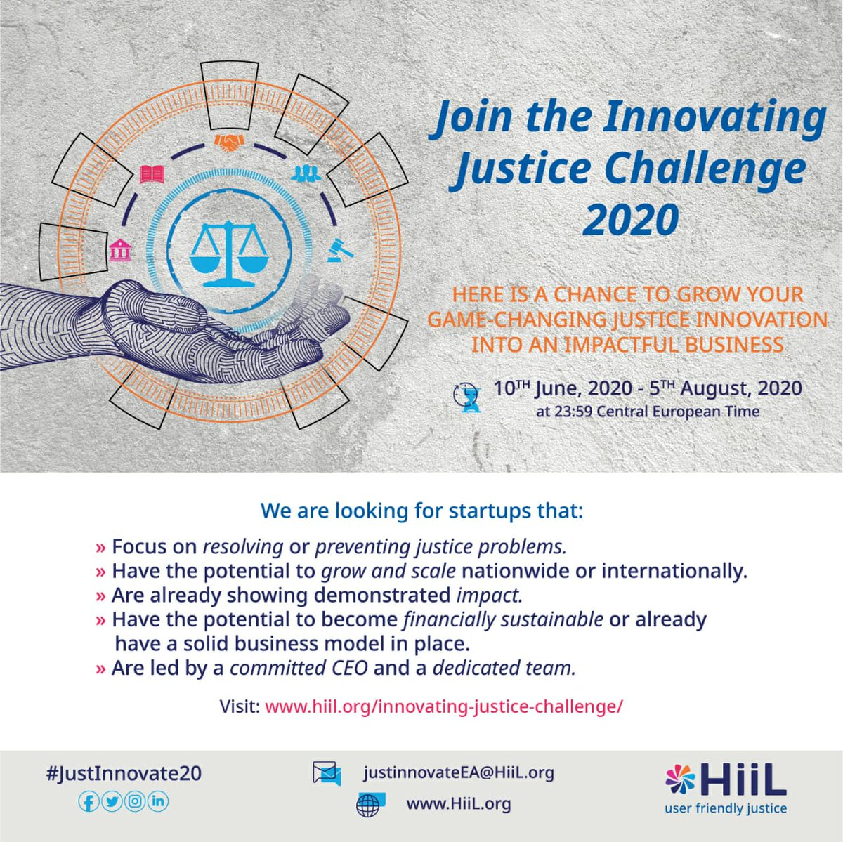 Applications for HiiL's Innovating Justice Challenge 2020 are now open!  Is your organisation developing sustainable solutions to justice? Are you creating access to justice, reducing inequality and unfairness?  Apply here https://t.co/MYUK1UwlZb  #Justinnovate20 https://t.co/5gLZHohtGT
