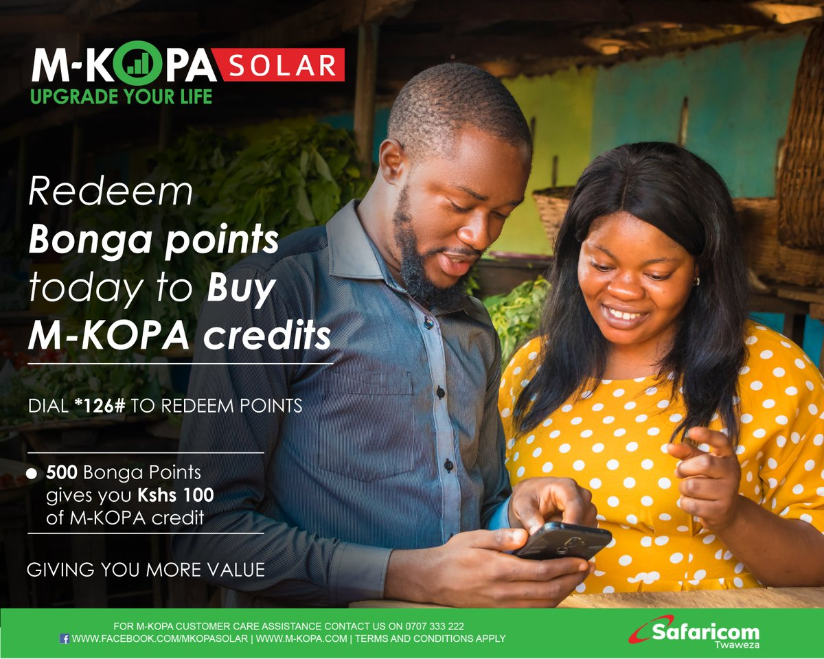 Are you an M-KOPA Customer? You do not have to worry about buying credits when running low on money. Simply redeem your Bonga points to stay connected. Dial *126# today. See more here: https://t.co/Wrkp5ZOSJZ #UpgradingLives #StaySafe https://t.co/C5ilUqB927