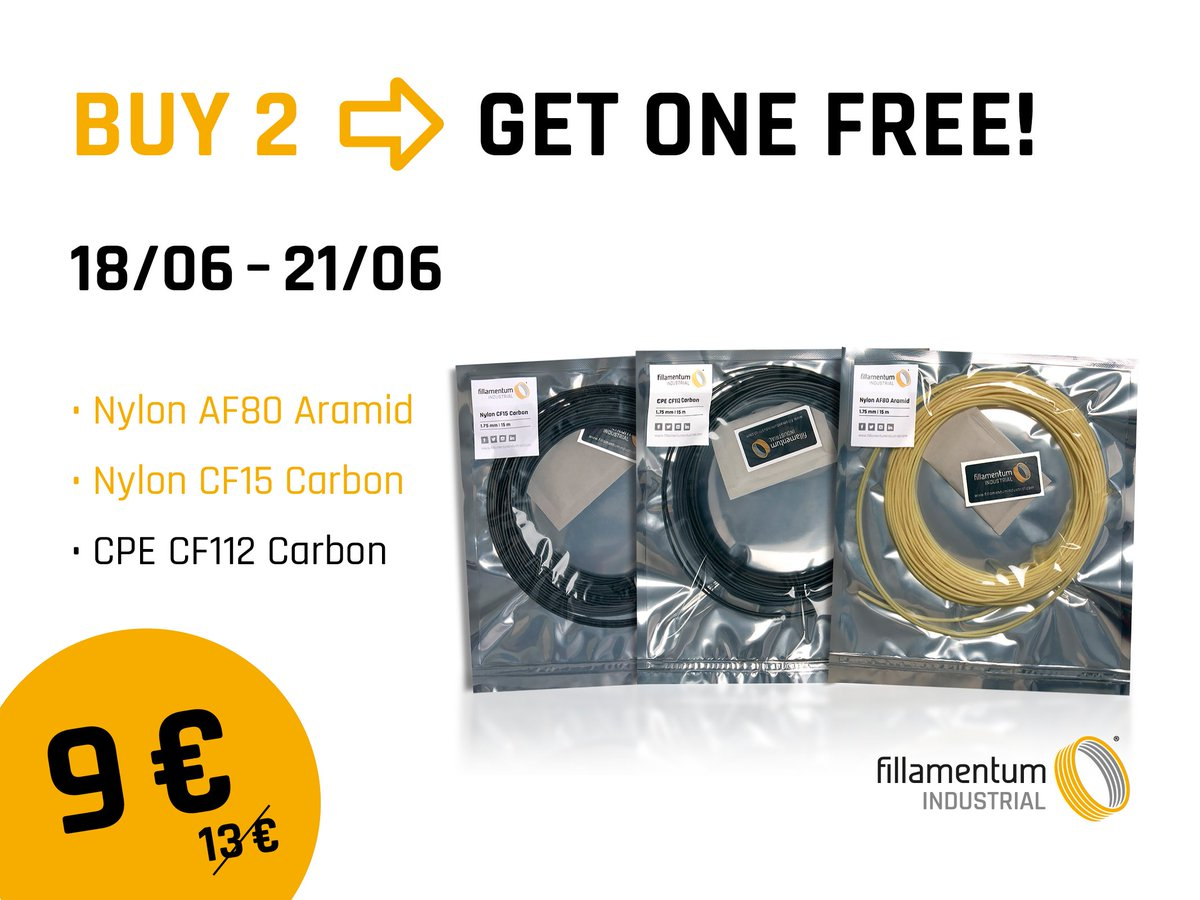 Buy two 15 m samples of #composites and get one for #FREE! ❗Do not miss this offer:   What are the main benefits of these #filaments? ✔️Wear and abrasion resistance ✔️Improved resistance to load ✔️Improved hardness   #3dprinting #fillamentum