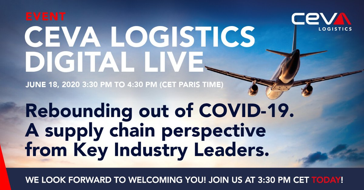 Join us today at 3:30 PM CET! 💻 CEVA Logistics Digital Live: https://t.co/GkSvubmLBC  #CEVALogistics #CEVADigitalLive https://t.co/Q6BzfhdO2J