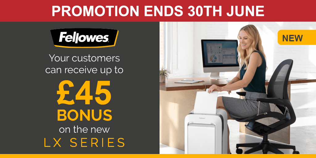 Get up to £45 cashback on the next generation of @FellowesUK shredders! The new #LXSeries micro-cut #shredders are thoughtfully designed with patented IntelliBar™ responsive technology, unmatched productivity and 100% jam-proof performance. Visit https://t.co/WBSbiygmyJ #GDPR https://t.co/Qa2e56YVtZ
