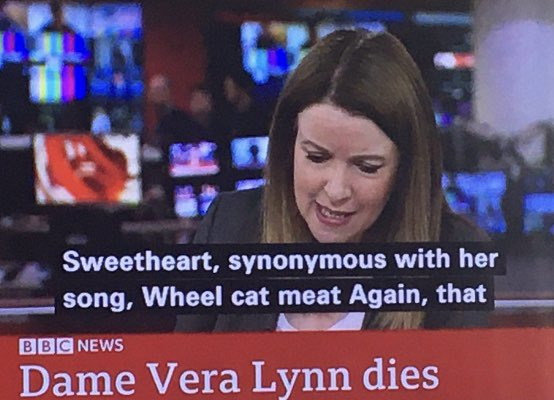 """We shall always remember Dame Vera Lynn for her extraordinary inspiring song to our brave troops """"Wheel Cat Meat Again"""""""