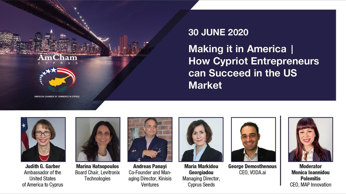 Join our On-Line Event:  Making it in America | How Cypriot Entrepreneurs can Succeed in the US Market! 30 June 2020 18:00 For more information and registration: https://t.co/S6dSyYysfe #usa #cyprus #entrepreneurs #startups #business https://t.co/NX4SD5YsP2