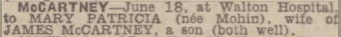 Liverpool Echo - Thursday 18 June 1942 ........a #Beatle is born @BNArchive