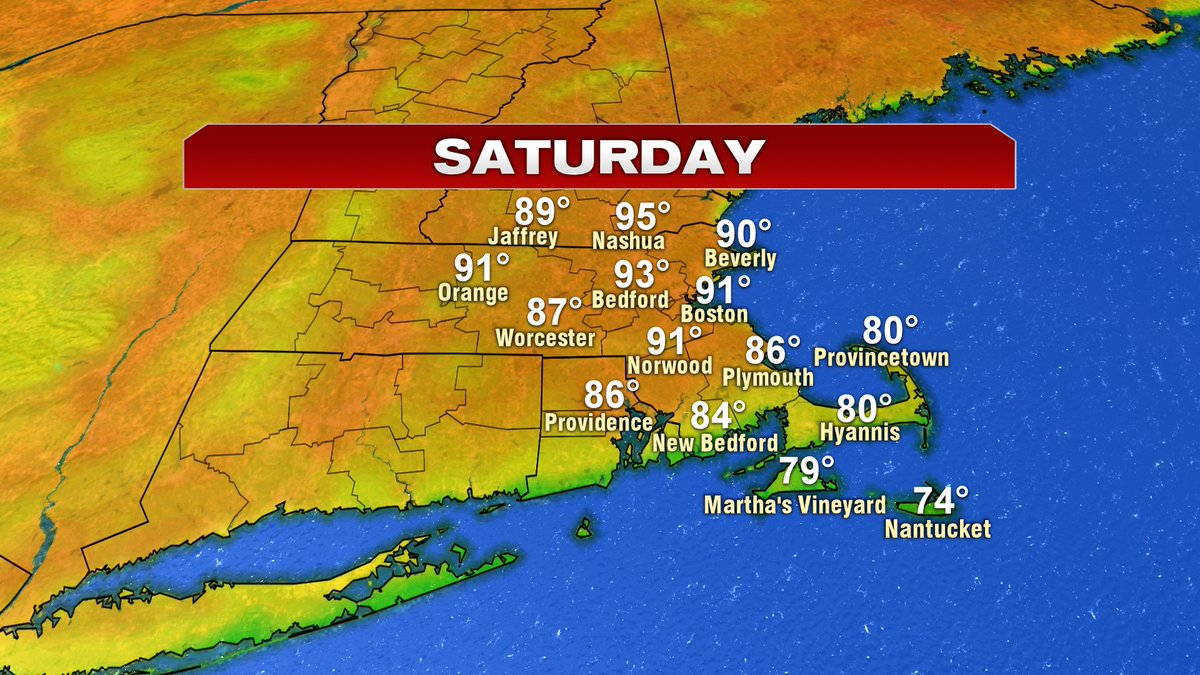Low to mid 90s Saturday.