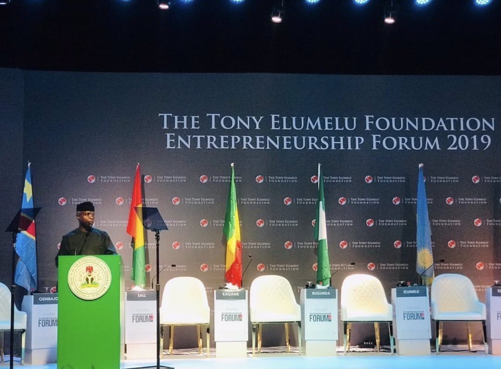 """""""By birthing this intervention, @TonyOElumelu has compelled us to focus on what really matters - our youths and their dreams."""" - VP of the Federal Republic of Nigeria, @ProfOsinbajo. #ThrowbackThursday to #TEFForum2019 #TEF2020 #Africanentrepreneurs https://t.co/VGoHUT2CFx"""