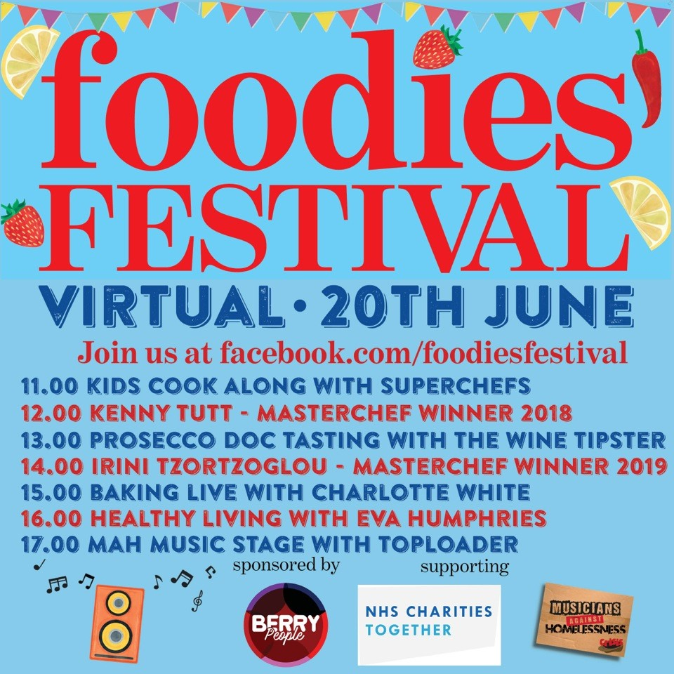 The first @foodiesfestival kicks off on Saturday. Check out that schedule - a day full of great music, live cooking from the nations best loved chefs & bakers and the chance to raise money for @NHSCharities and @MAH_Gigs. 🎵🧑‍🍳 Find out more at bit.ly/2UDEgxf.
