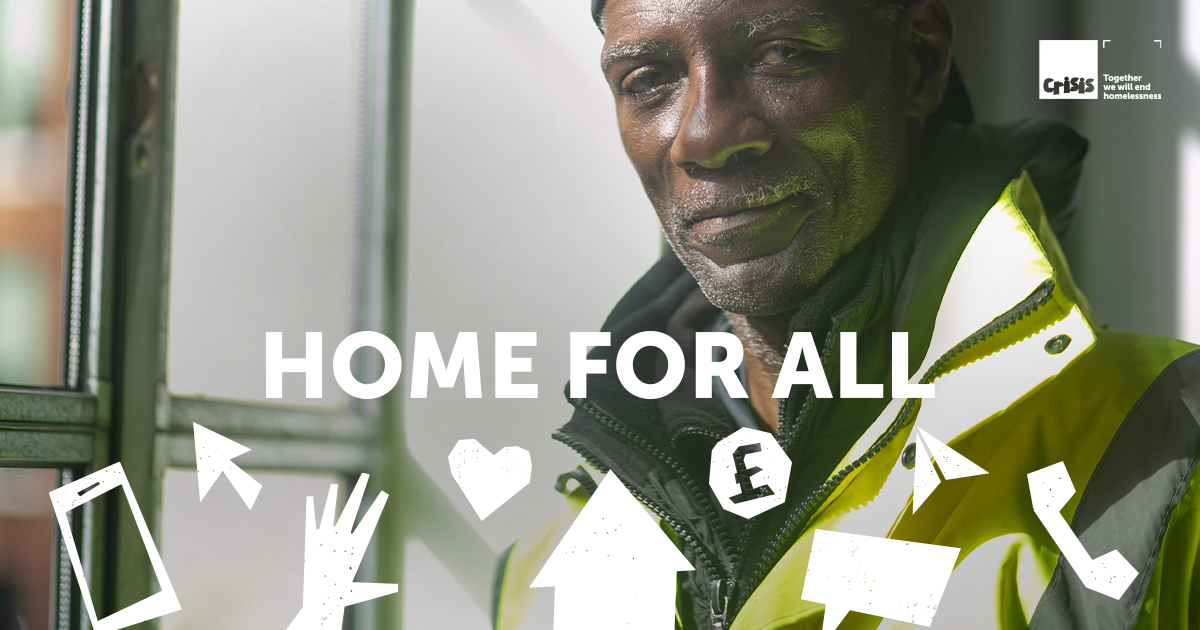 Over lockdown, together we've shown that ending homelessness is within our reach. Today, we launch #HomeForAll – a marker of what we must achieve and a rallying cry to mobilise behind. Join us in making this the beginning of the end of homelessness: crisis.org.uk/get-involved/h…