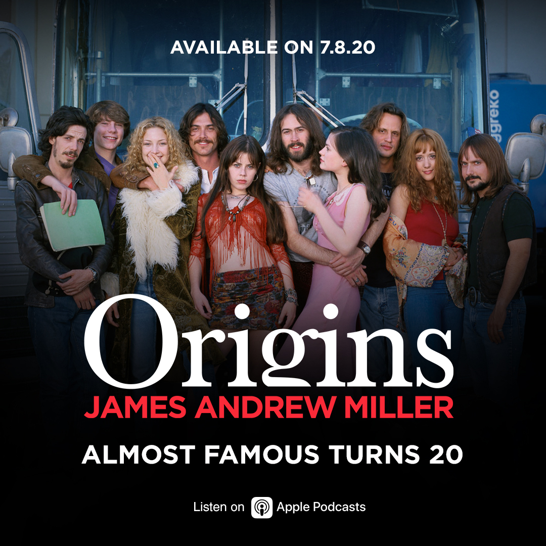 #AlmostFamous turns 20 this year and @JimMiller got the band back together.   Hear from @CameronCrowe, Kate Hudson, Billy Crudup, Frances McDormand, Patrick Fugit, Jason Lee, @ZooeyDeschanel, @JimmyFallon and more. #OriginsJAM  It's all happening 7.8.20  https://t.co/MyNiqVqL7G https://t.co/UvBIsdyS3k
