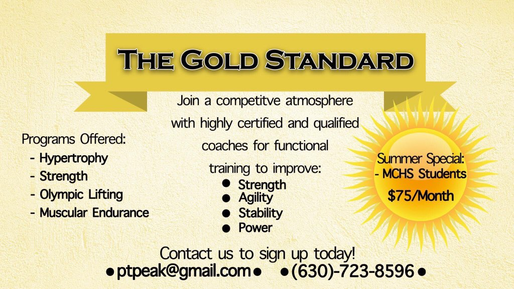The Gold Standerd is offering this special. Starting next Monday I will there from 3-4:30 ish. The will be using the Minooka HS work out plan.