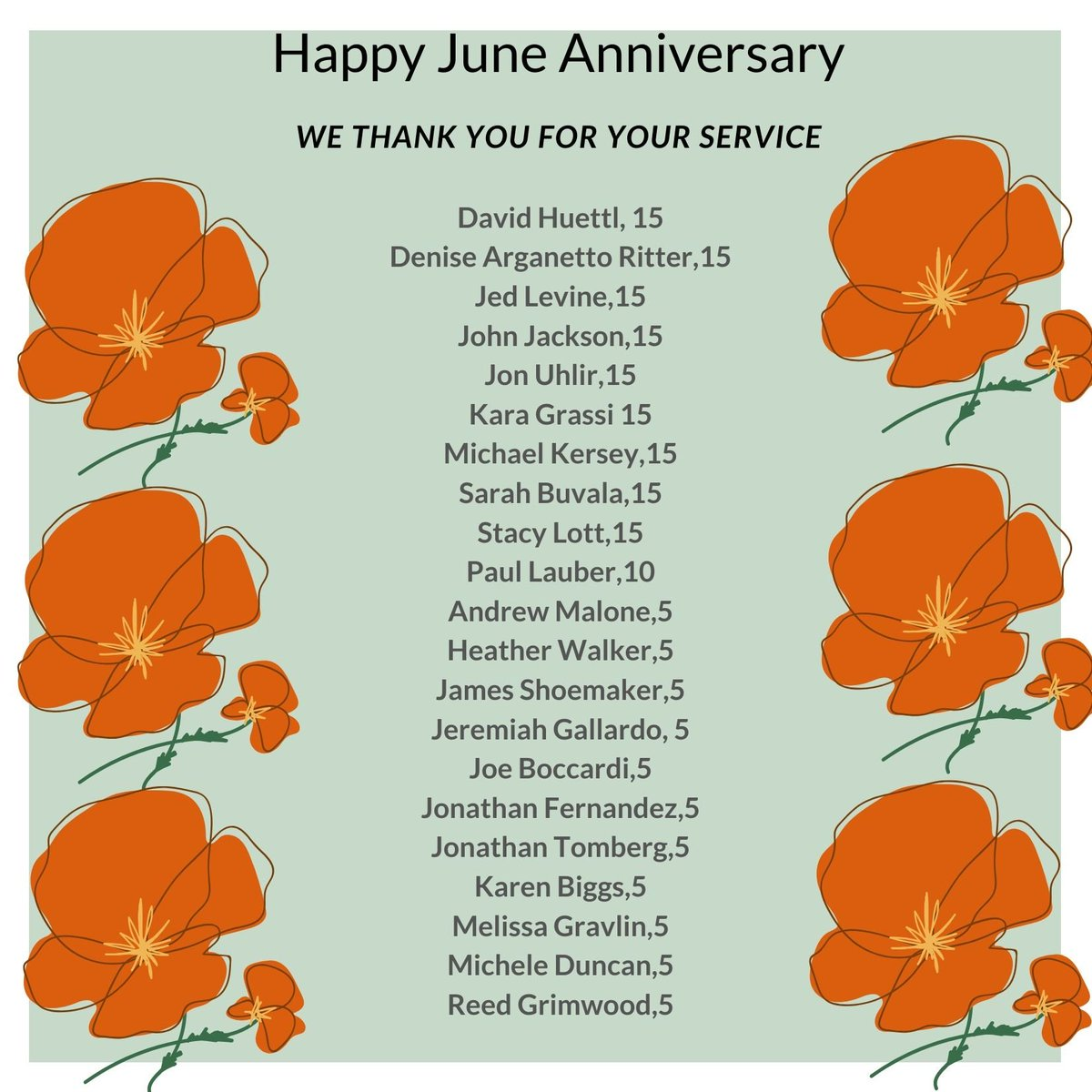 We thank you for your service. Happy June Annviersary!  *Please note, those mentioned in the imagery are milestone anniversaries listed in five year increments. So, please know everyone is valued, whatever the years. https://t.co/1ATQfyALEG