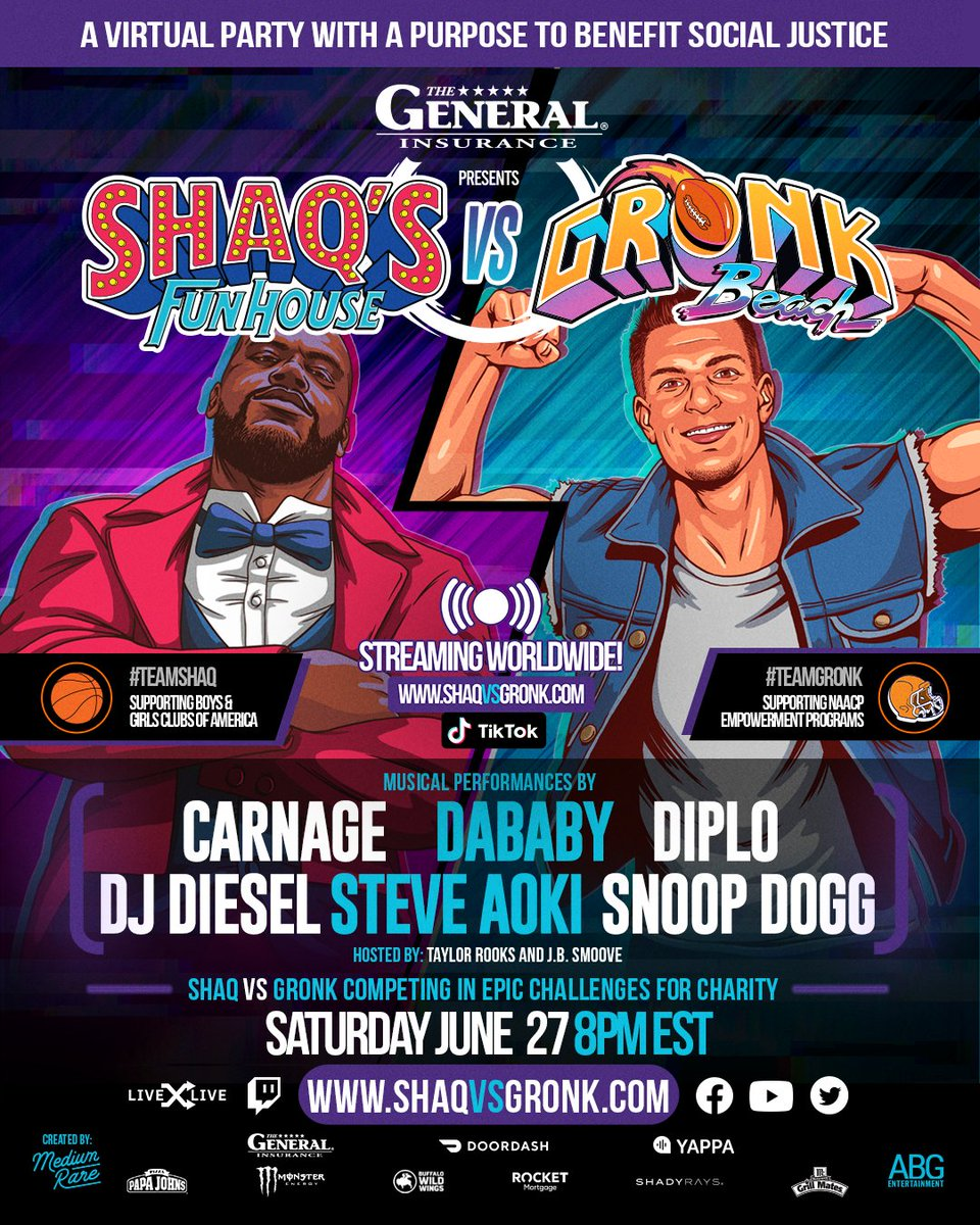 Together with @RobGronkowski & my partners @TheGeneralAuto, we created a virtual party with a purpose. I'm gonna take GRONK on for charity & get down with @DaBabyDaBaby @SnoopDogg @diplo @steveaoki & @djcarnage. Tune in 6/27 at https://t.co/CQDJ4VtZnT & on @tiktok_us! https://t.co/eDdN13VYmC