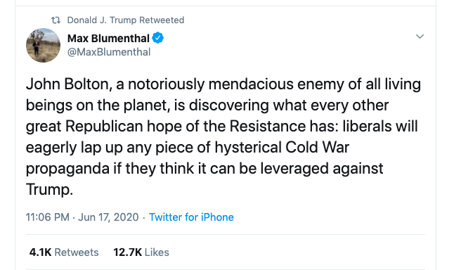 Donald Trump retweets Max Blumenthal. The circle is complete.