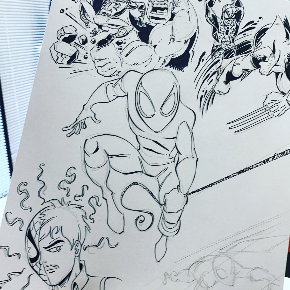 Spider Page 🕷 #butchhartmandraws #spiderman https://t.co/YkcytSyfLa