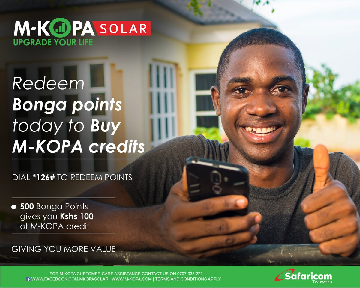 Do not panic when you run out of credits. Simply redeem your Bonga points today to Buy M-KOPA credits by dialing *126# today. See more here: https://t.co/Wrkp606tBx #UpgradingLives #StaySafe https://t.co/g6UhGviAnk