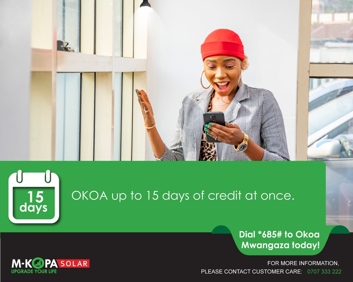Having no lights on a cold night can be frustrating. Our  customers can now borrow up to 15 days of credit at once to stay connected.  Simply dial *685# to receive a lighting loan. See more here: https://t.co/Wrkp606tBx #OKOAMwangaza #StaySafe https://t.co/bETxeuufuC