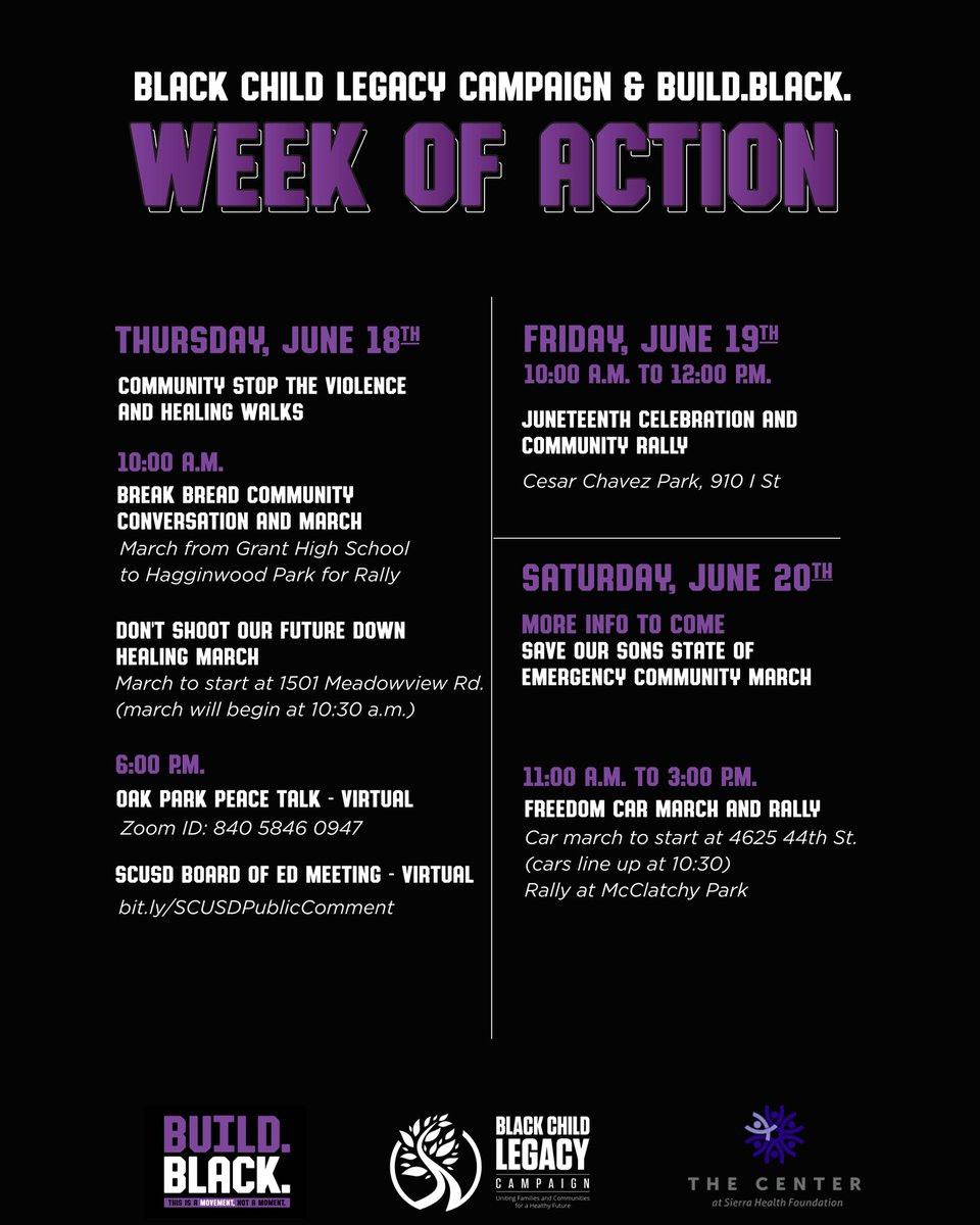 There are lots of ways to participate in the @RAACD_Sac & @BuildBlack10 week of action today: join a march this morning and log in tonight for virtual convos! This week is all about opportunities to #investincommunity #StopTheViolence #reimaginejustice and celebrate #Juneteenth! https://t.co/6scwuH3fqK