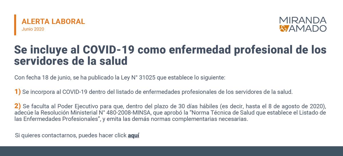 #AlertaLaboral | Se incluye al COVID-19 como enfermedad profesional de los servidores de la salud