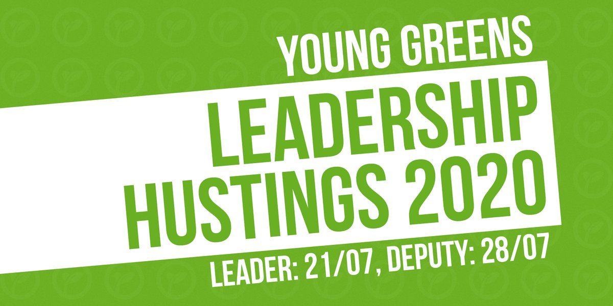 🚨 Save the date 🚨 This summer @TheGreenParty are electing a new leadership team, and we want to make sure our members have a chance to hear from the candidates. Join us for Young Greens-only hustings: 🌱 Leader – 21/07, from 8pm 🌱 Deputy leader – 28/07, from 8pm