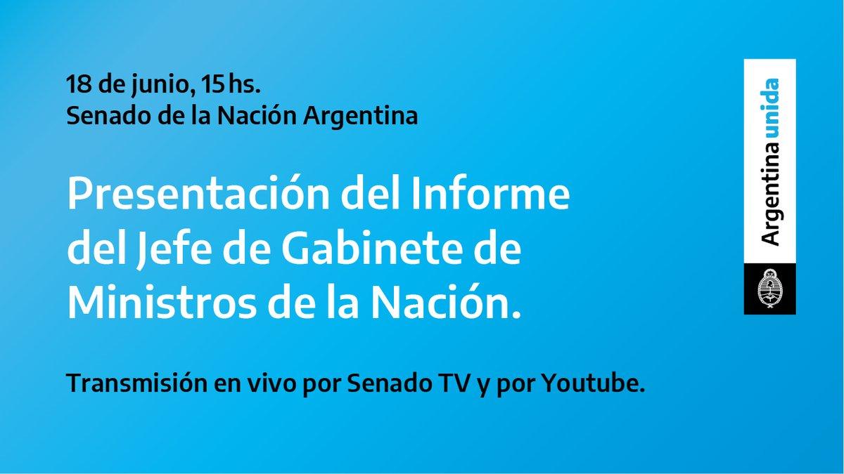 Desde las 15hs voy a estar en el @SenadoArgentina en la presentación del informe de la Jefatura de Gabinete de Ministros.  Vas a poder verlo en vivo por Senado TV y por Youtube https://t.co/nlJPhu5GZt  #InformeDeGestión #ArgentinaUnida https://t.co/AUAeZ08Xz4
