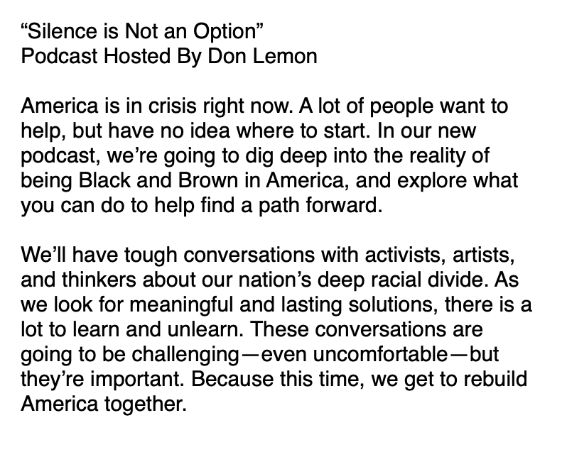 """Don Lemon has a new podcast series out called """"Silence Is Not An Option""""  Listen Here: https://t.co/V1wmipAMKb https://t.co/rvHbKkWlaA"""