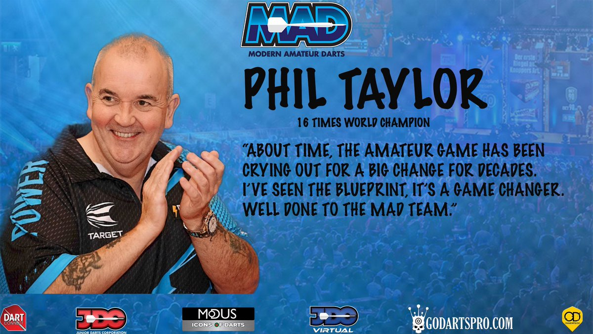 Well here we are the cat is out of the bag and would like to welcome you.   A new dawn in amateur darts is here. And With the backing of the best in the sport @PhilTaylor @Raybar180 🎯🎯 https://t.co/Vv0hXlYpfW