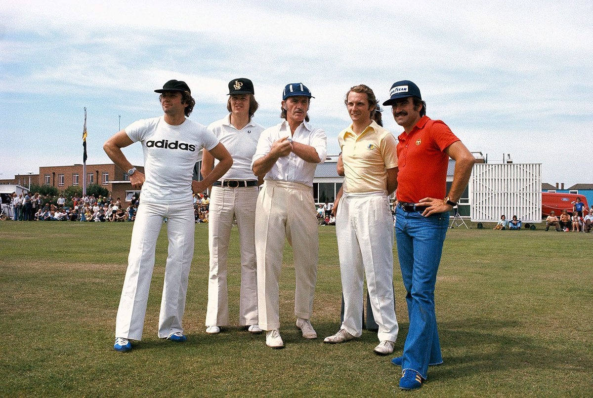 #JochenMass, #RonniePeterson, #GrahamHill, #NikiLauda and #ClayRegazzoni at a cricket match held in 1974 in a village near Brands Hatch https://t.co/zvLwBG0knx https://t.co/8LZvCmoid1