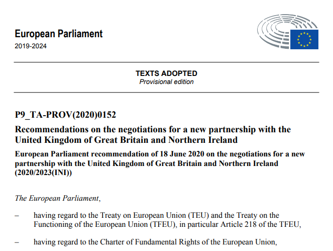 We are pleased to see that the @Europarl_EN has adopted a resolution on the future relationship between the EU and the UK. We thank the MEPs and political groups who have supported our asks and helped in strengthening the text. 1/