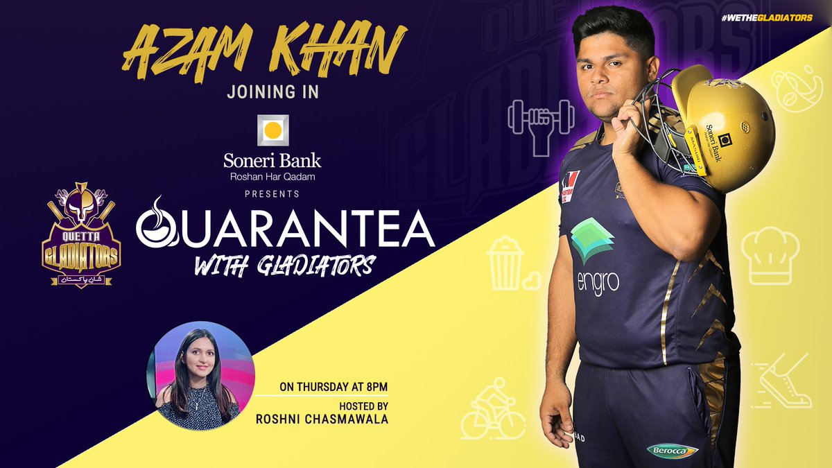 . @SoneriBank_Pk presents #QuaranTeaWithGladiators with our rising star @MAzamKhan45 !! 📺↙️  #PurpleFOrce #WeTheGladiators https://t.co/aLzWVJX1Zi