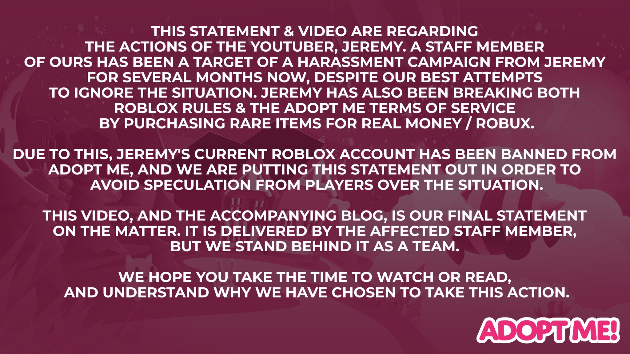 Roblox Youtubeur At Next New Now Vblog Adopt Me On Twitter This Statement Video Are Regarding The Actions Of The Youtuber Jeremy Blogpost Https T Co Vahfdwbdl3 Video Https T Co Vbgbjbg1mc Https T Co Ckdntobqcw