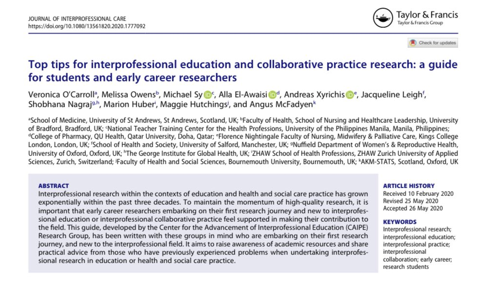 Top tips for #interprofessional education and collaborative practice #research: A guide for students and early career researchers  https://t.co/3aPGoFssfp  @JICare @tandfmedicine @CAIPEUK https://t.co/eGZKZiuAq2